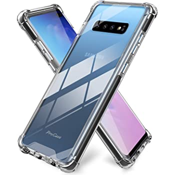 ProCase Galaxy S10 Plus Case Clear, Slim Hybrid TPU Bumper Cushion Cover with Reinforced Corners, Crystal Scratch Resistant Rugged Cover Protective Case for Galaxy S10+ Plus 2019 –Black Frame