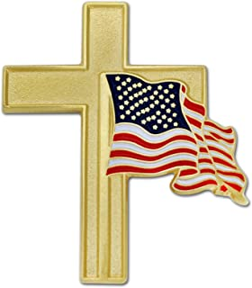 American Flag Gold Cross Religious Military Patriotic Lapel Pin