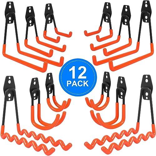 AojSup 12pcs Crochets Utilitaires,Crochet Double de Stockage de Garage en Acier Avec Revêtement Anti-Dérapant, Croche...