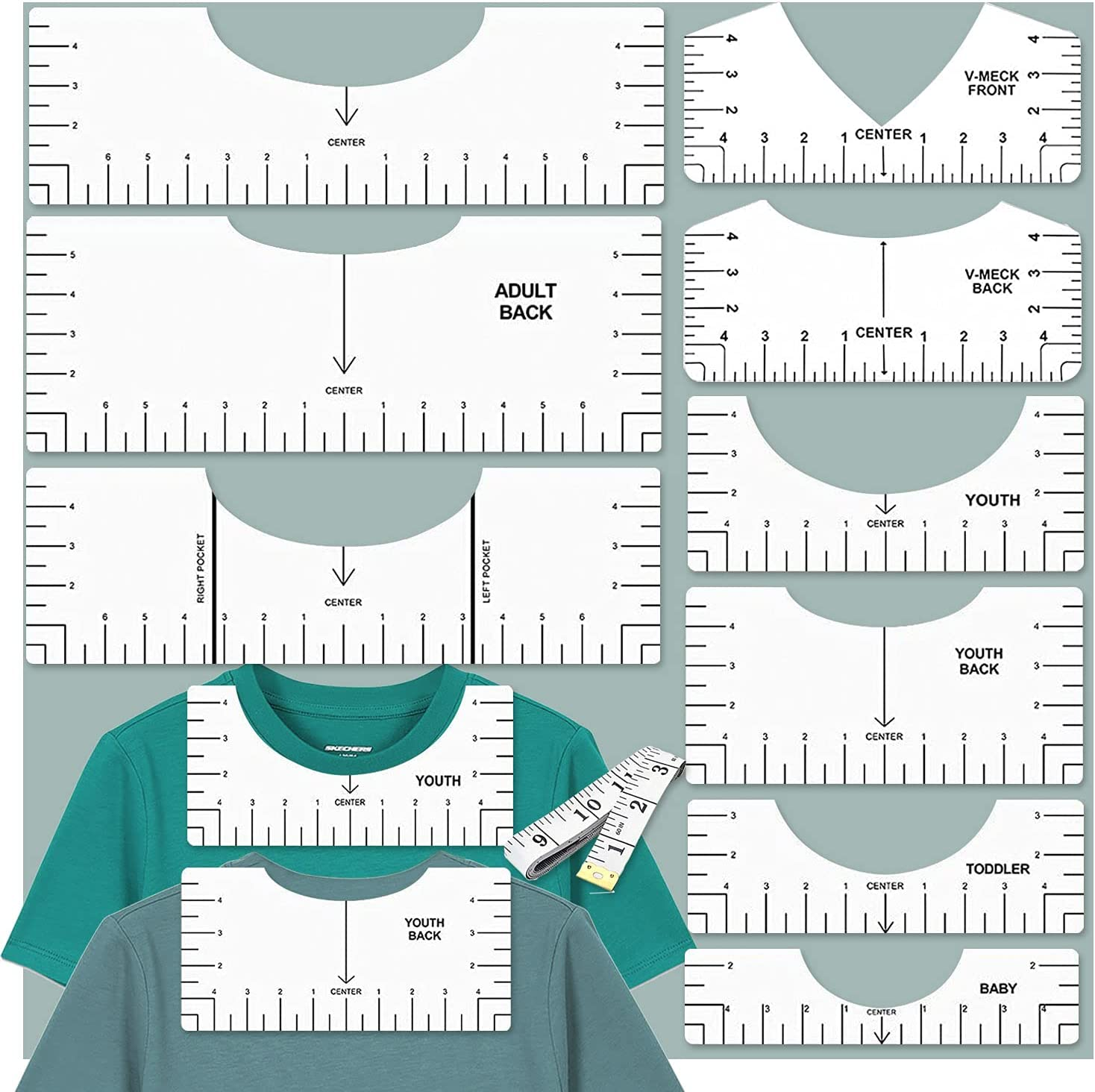 10PCS Tshirt Ruler Alignment Tool Set Tshirt Ruler Guide for Vinyl Tshirt Alignment Tool T Shirt Rulers to Center Designs Transparent T Ruler for Infant Toddler Youth Adult, Front and Back Measurement