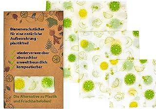 2BeeNature Angebot April Bienenwachstücher 3 Stück S,M,L als Starter Pack für eine bessere Umwelt - Bio-Baumwolle - Bienenwachs - Plastikfrei - ersetzt Frischhaltefolie