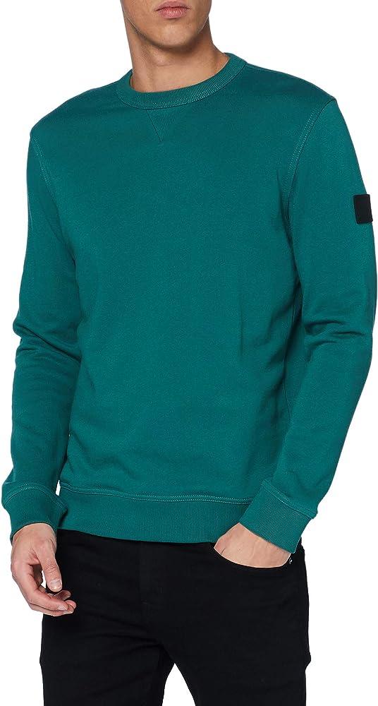 Hugo boss,felpa per uomo, dal fit rilassato in spugna di cotone con logo sulla manica,diversi colori 50426608