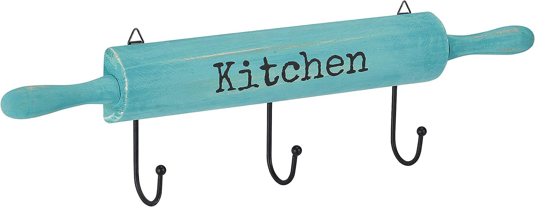 AdirHome Kitchen Utensil Pot Hook Rack Blue