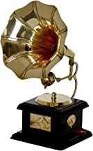 SAARTHI Handmade Vintage Dummy Brass Gramophone Showpiece (Brown, Gold) 23 cms