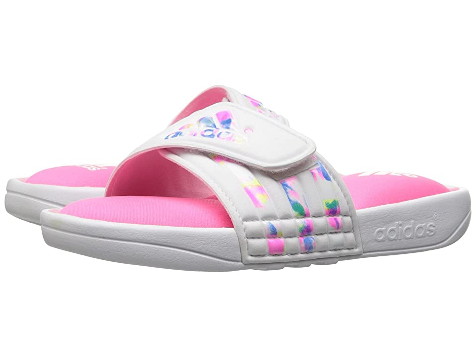 adidas Kids Adissage Comfort (Toddler/Little Kid/Big Kid) (White/Solar Pink) Girls Shoes