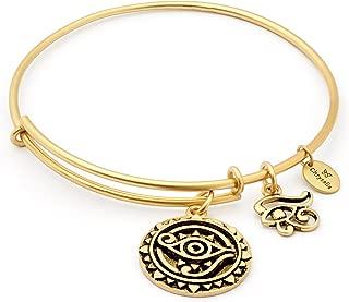 Eye of Horus Ankh Egyptian Symbol Charm Bangle Bracelet, 14K Old Plated, Adjustable Expandable