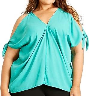 Susan Miller Women's Plus-size Open Cold Shoulder Short Sleeve Blouse Top