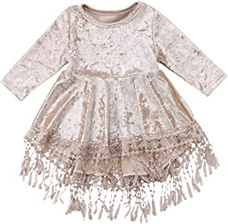 Emmababy Vintage Princess Kids Baby Flower Girls Dress Silver Velvet Tassels Party Dresses Outfit