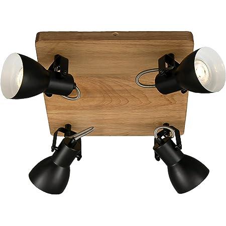 Briloner Leuchten - Spot, spot de plafond rétro, spot de plafond vintage, spots orientables et pivotants, 4x GU10, max. 35 Watt, bois-métal, noir et blanc, 280x280x135mm ( Lxlxh )