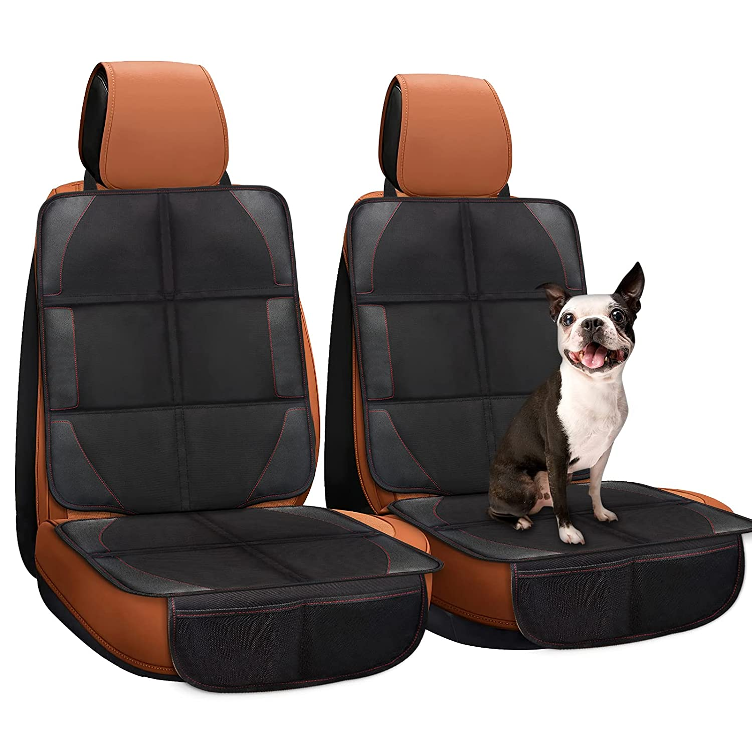 Car Seat Protector, 2 Pack Car Seat Protectors Stain Proof Protect Leather Seats Prevent Seat Mark/indents Anti-Slip for Child Baby Car Seat and Pets with Organizer Pockets for Sedan SUV Trucks