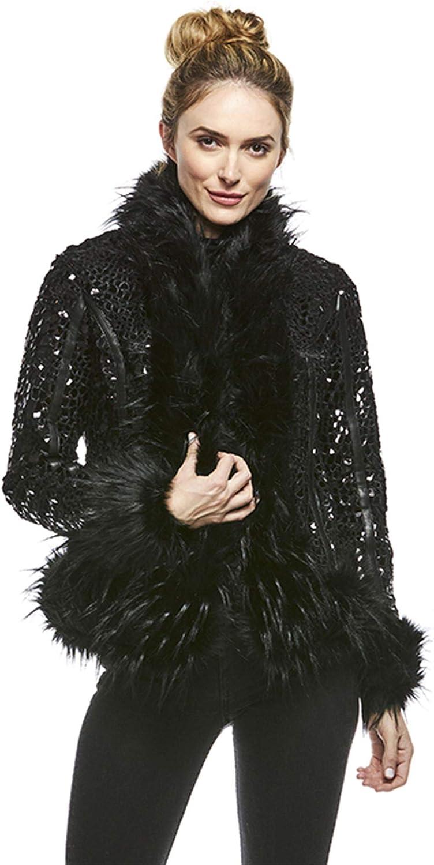 Black Premier Faux Fur Jacket (M) (Black)