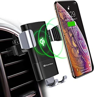 DesertWest Wireless Car Charger Mount, 10W Automatic Clamping Qi Fast Charging Car Phone Holder Air Vent Compatible with iPhone Xs/Xs Max/XR/X, Galaxy Note 9/ S9/ S9+ and Other Qi-Enabled Phones