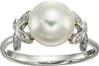 Majorica Women's Eternity Rings 4 mm White Pearls Ring w/Butterfly CZ Sterling Silver Ring