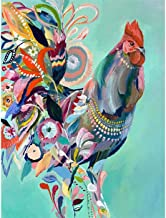 Kaliosy 5D Diamond Painting Painting a Rooster in Watercolor by Number Kits Paint with Diamonds Art for Adults, DIY Crystal Craft Full Drill Cross Stitch Decoration (12x16inch)