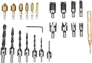 Nishore Ferramenta de perfuração de chanfro para carpintaria de 23 unidades Cortador de plugue de madeira de 8 unidades 6 ...