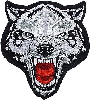 Parches de tela para bordar con cabeza de lobo grande, para planchar sobre insignias,