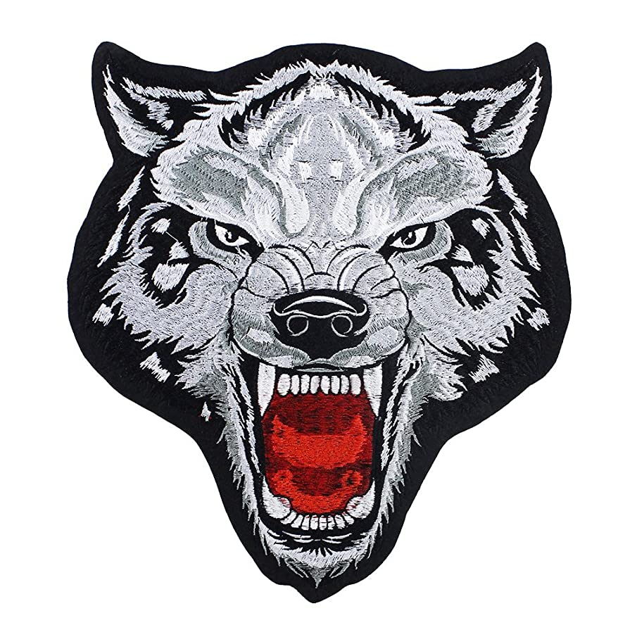 Large Wolf Head Embroidery Patches Applique Iron on Badges Scrapbooking for Jacket Back Patches