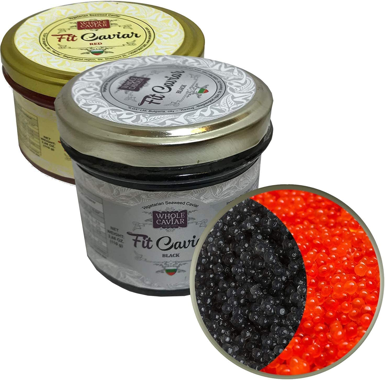 Caviar negro y rojo, vegetariano, de Salmon Roe para pescetarianos, mejor caviar para sushi, estilo ruso (2 unidades)