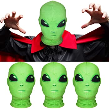 3 Pieces Halloween Mask Spandex Alien Mask Cosplay Costume Alien Skull Balaclava Full Face Mask Hood Alien Head Mask for Halloween Party