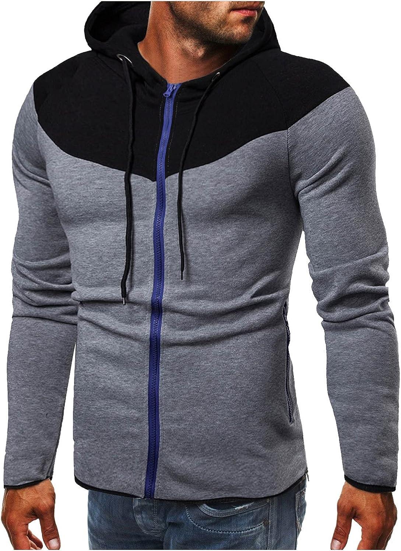 Men's Sweatshirt Hipster Gym Long Sleeve Drawstring Hooded Pullover Hoodies Full-Zip Fleece Mock Neck Sweatshirt
