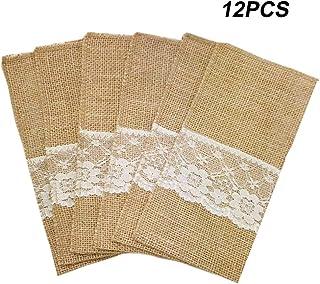 Amajoy 12pcs 4x8 pulgada Arpillera de arpillera de arpillera de arpillera natural Platería Servilleteros Cubiertos Cuchillos Cuchillos Tenedores para el país Decoración de bodas Nupcial