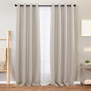 Beige Curtains Linen Textured for Living Room Drapes for...