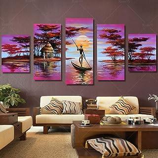 Jjshily Paysage Africain Africain Classique De 5 Panneaux Peignant Lu0027image  De Mur De Secenery