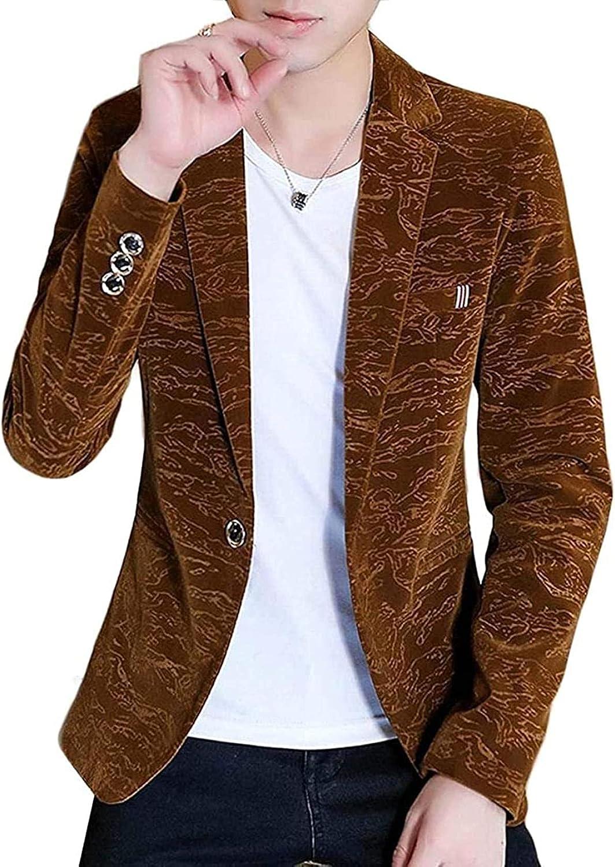 Men's mart Notched Lapel Stylish OFFicial shop Club Slim Button Jac Blazer One Suit
