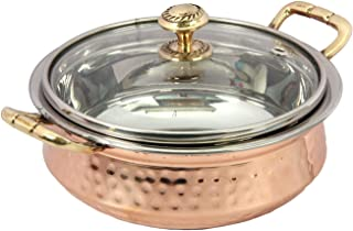 PARIJAT HANDICRAFT Indian Hammered Copper Serving Bowl for Food Soup with Handle and Glass Lid Decorative Small Seveware