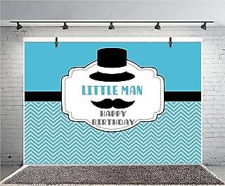 Leyiyi 7x5ft Photography Background Boys Happy Birthday Party Backdrop Little Man Character Gentleman Beard Hat Costume Ocaean Wave Style Wallpaper Baby Shower Photo Portrait Vinyl Studio Video Prop