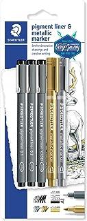 قلم تحديد بصبغات دقيقة من ستيدلر 3 أقلام تحديد – أسود، علامة معدنية جوهانا باسفورد) 308 Sbk3P3