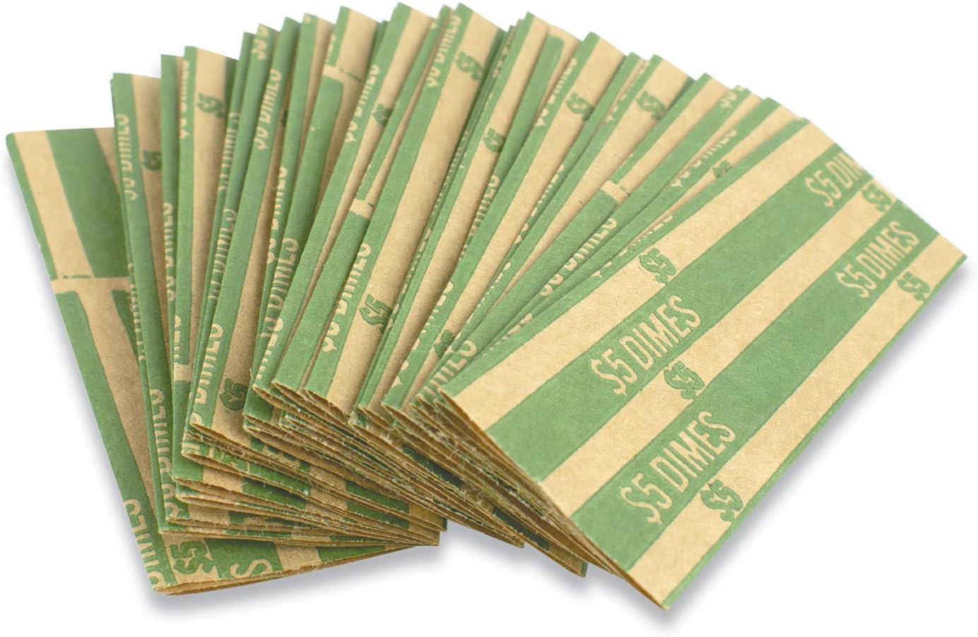 Flat Shipping El Paso Mall included Tubular Coin Wrap Dimes Box 1 Green $5.00 000