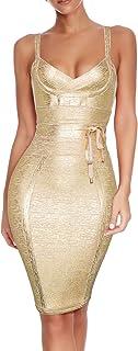 houstil Women's Celebrity Party Dress Spaghetti Strap Bandage Dress with Belt Detail