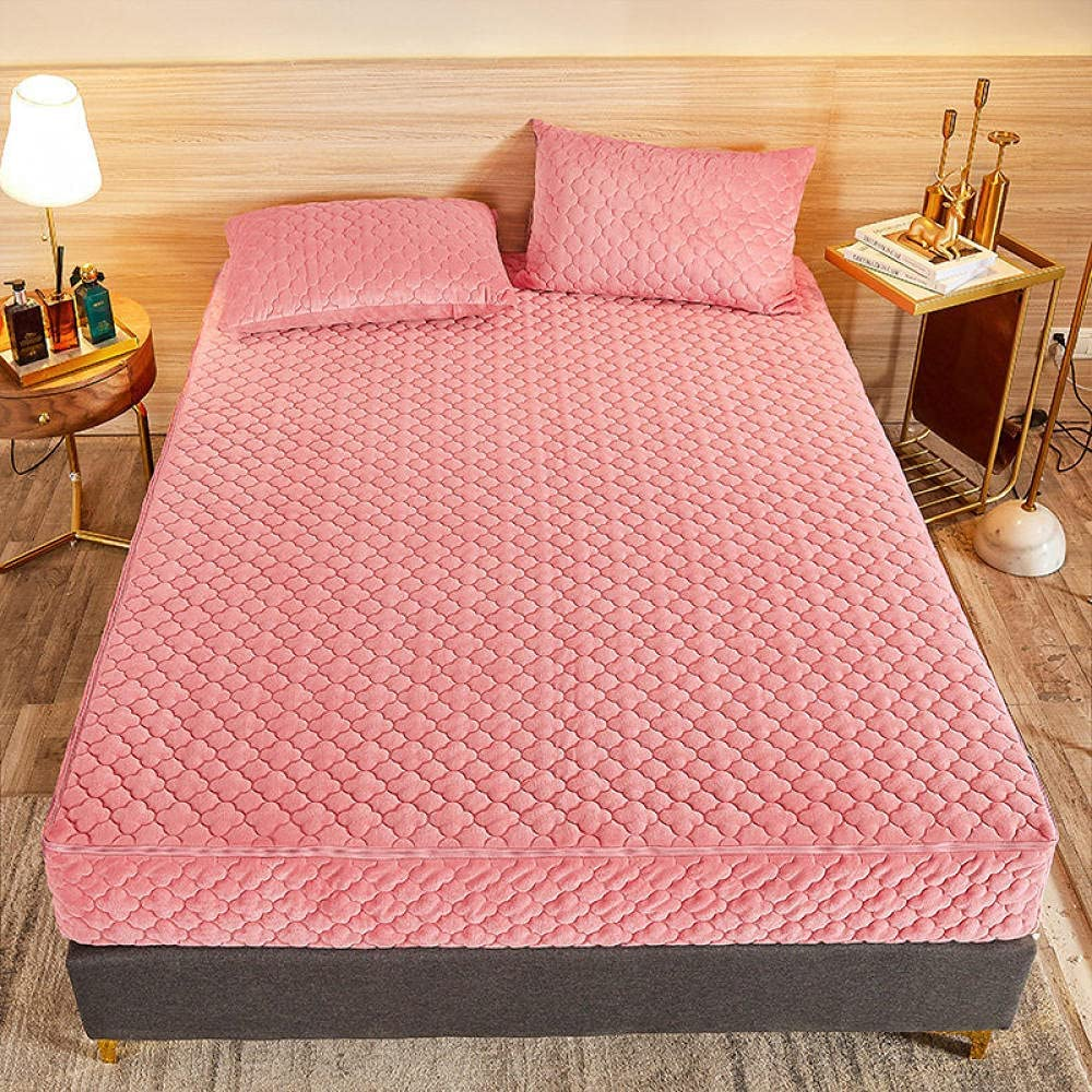 CFYCYHDZHT Warm Crystal Velvet At the price of Large-scale sale surprise Fitted Sheet w Protector Mattress