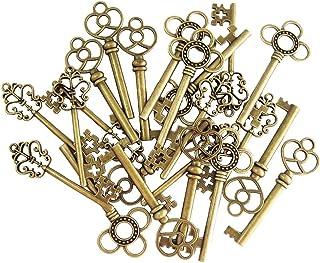 30 pièces mixtes vintage squelette clés fantaisie coeur arc collier pendentifs (bronze)