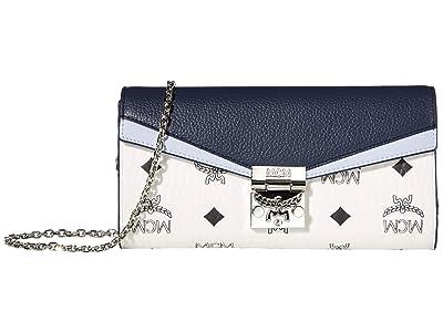 MCM Patricia Visetos Leather Block Flap Wallet/Two-Fold Large (Mood Indigo) Handbags