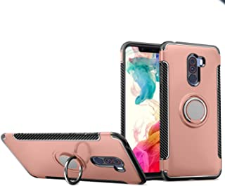 Xiaomi PocoPhone F1 Case, Mingwei [with 360 ° Kickstand] Rotating Ring Case [Dual Shockproof] Protection Cover Compatible with [Magnetic Car Mount] for Xiaomi PocoPhone F1 (Rose Gold, PocoPhone F1)
