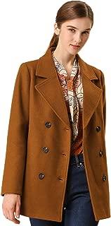 Allegra K Women's Double Breasted Notched Lapel Pocket Winter Coat