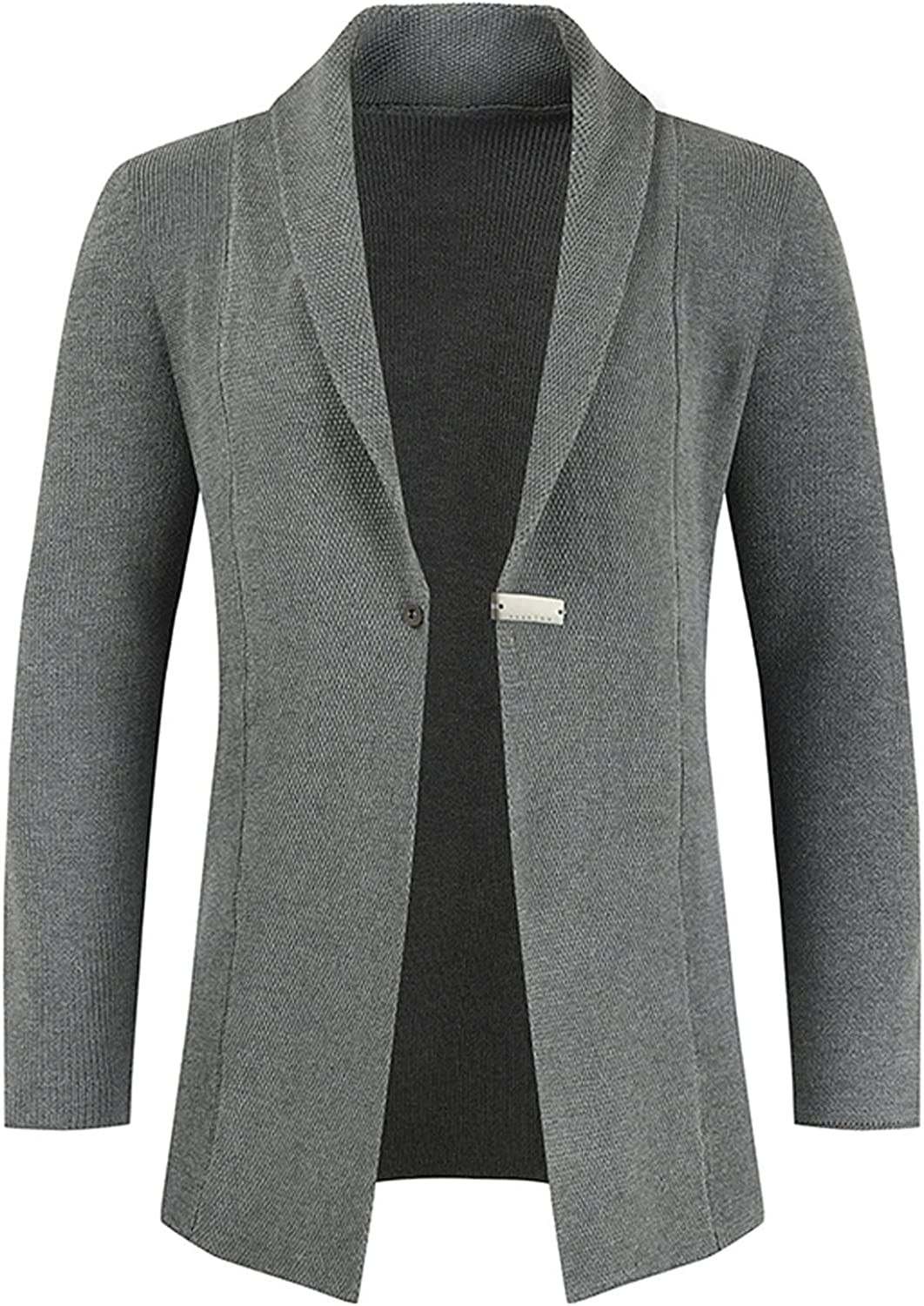 Huangse Mens Shawl Collar Knitted Cardigan Sweater Slim Fit One Button Snap Trench Coat Long Sleeve Knit Coat Jacket