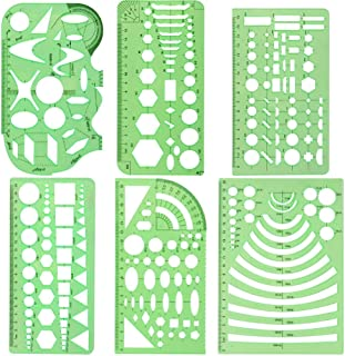 PIONEERS Geometric Drawings Templates Measuring Rulers Plastic Measuring Templates Plastic Geometry Stencils with 1 Pack P...