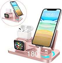 BENTOBEN 3 in 1 Charging Stand for Apple Watch (5/4/3/2/1), Airpods Pro 2019/2/1, iPad Stand, iPhone Stand(11/XS MAX/XR/XS/8/8 Plus/7/7 Plus/6/6 Plus), Tablet Stand(Original Cable Required), Rose Gold