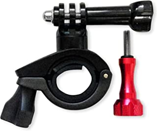 Handlebar Seatpost Camera Mount for Bikes - Motorcycles - Mountain Biking - Ski Pole - with Red Aluminum Thumbscrew to attach Action Sports Cameras by Flight Speed Camera Mounts