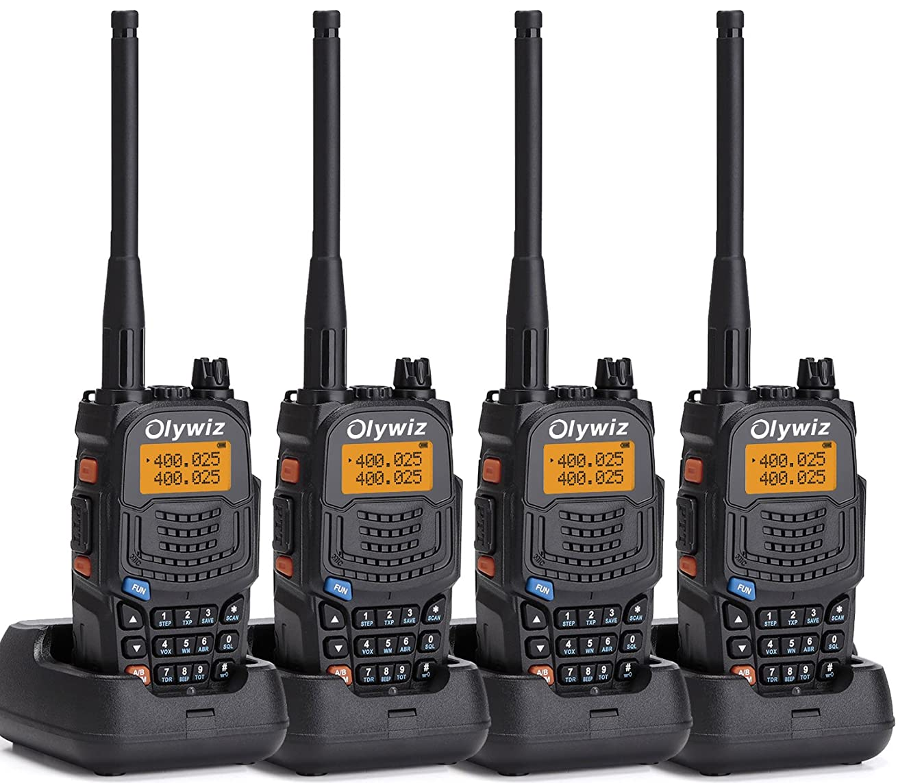 Walkie Talkie Long Range 5W - Olywiz UV6S Handheld two way radio High/Low Power Switchable 128 channels 4 PACK