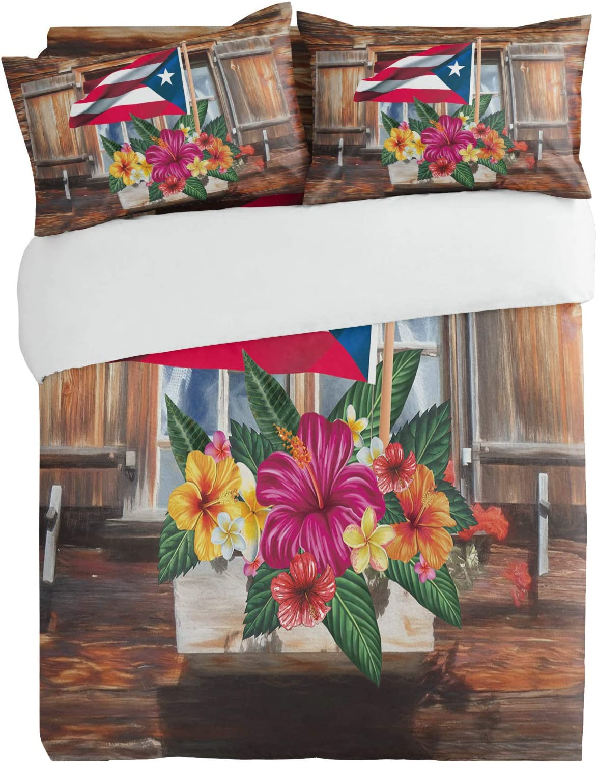 SUN-Shine Sale 3PiecesBeddingDuvetCoverSetVintage Flower OFFer Wooden
