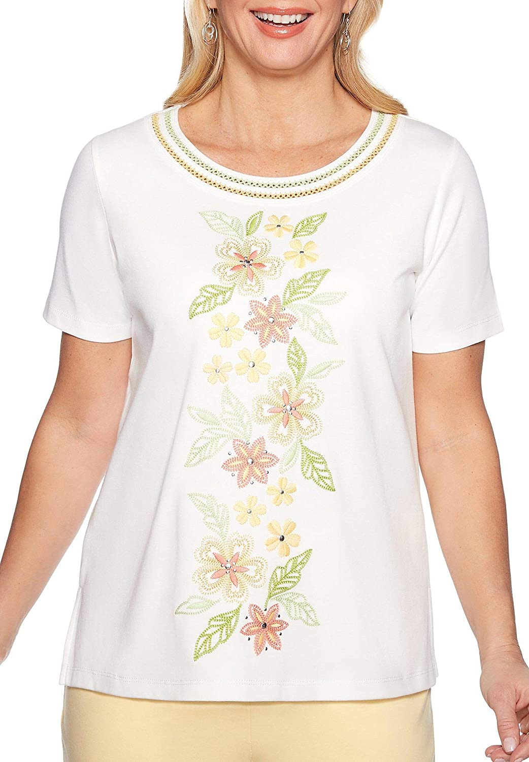 Alfred Dunner Womens Endless Weekend Embroidered Floral Top
