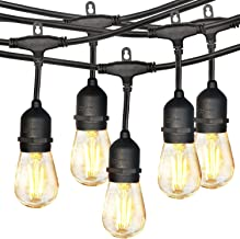 48FT LED Outdoor String Lights, 17 Dimmable Shatterproof Edison Bulbs, with 15 Hanging Sockets, for Patio Lights, Backyard...