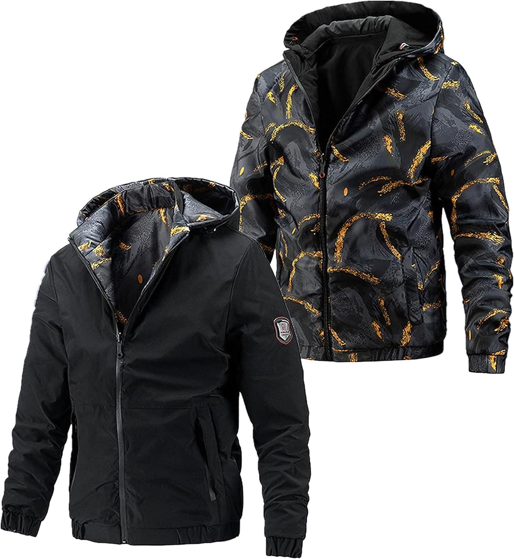 Huangse Autumn Winter Jacket On Both Sides For Men Slim Fit Full Print Zipper hoodie Jacket Long Sleeve Windproof Coat