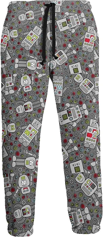 KAWAHATA Retro Robot Men's Pants with Pockets Tapered Athletic Sweatpants 3D Casual Active Sports Pants