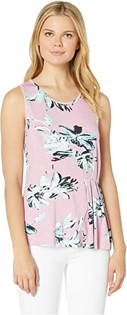 Printed Slub Jersey Sleeveless Top with Pleats