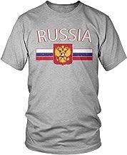 Amdesco Men's Russian Flag and Russia Eagle Crest T-Shirt